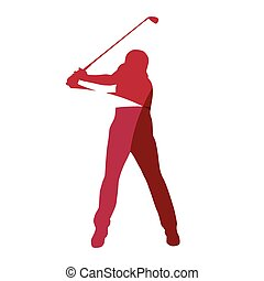 Abstract red golf player geometric silhouette