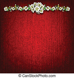 abstract red grunge background with flowers