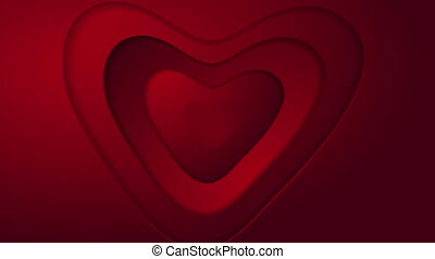 Abstract red heart St Valentines Day motion graphic design. Seamless looping. Video animation HD