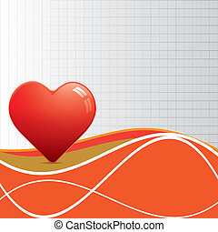 Abstract red heart whit texture.