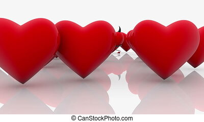 Abstract Red Hearts on a white background