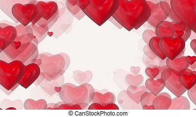 Abstract red hearts on white