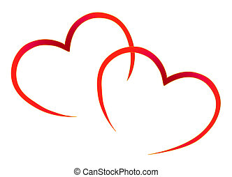 Abstract Red Hearts . vector illustration