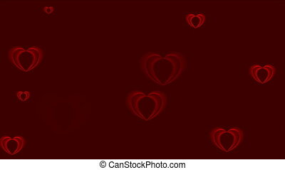 Abstract red hearts video animation