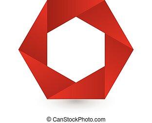 Abstract red hexagon shape logo