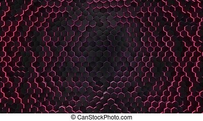 Abstract red hexagon with neon geometry background