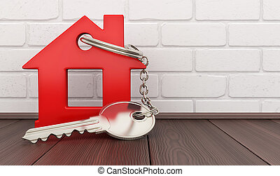 Abstract red home and key