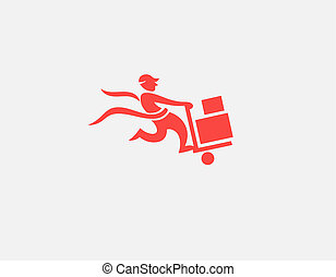 Abstract red icon logo silhouette of a running man with boxes delivery for your company