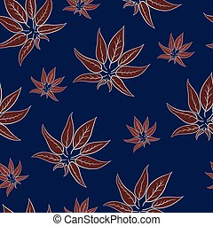 Abstract red leaves in the night seamless pattern
