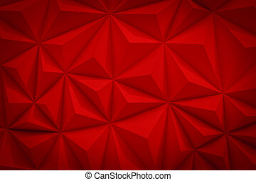 Abstract red low poly background with copy space 3d render