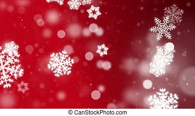 Abstract Red motion loop background shining silver Snow snowflakes particles.