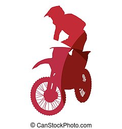 Abstract red motocross rider geometric silhouette