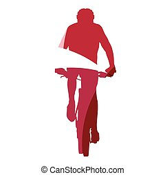Abstract red mountain biker geometric silhouette