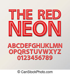 Abstract Red Neon Font and Numbers