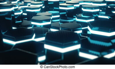 Abstract red of futuristic surface hexagon pattern with light rays. 3D Rendering 4k animation