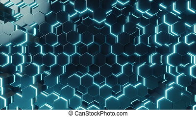 Abstract red of futuristic surface hexagon pattern with...