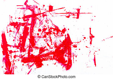 abstract red paint, isolated on white background