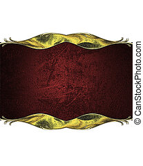 Abstract red plate with gold trim