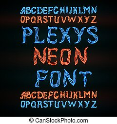 Abstract red plexus neon font. - Abstract blue and red...