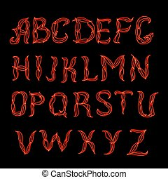 Abstract red plexus neon font. Hand drown dooodle latin...