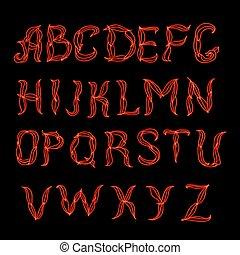 Abstract red plexus neon font. Hand drown dooodle latin...