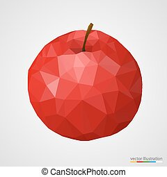 Abstract red polygonal apple