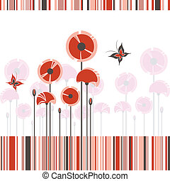 Abstract red poppy on colorful stripe background