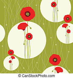 Abstract red poppy seamless