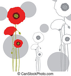 Abstract red poppy on seamless pattern background