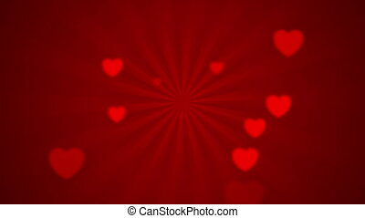 Abstract red rays and blurred hearts. Valentines Day video animation