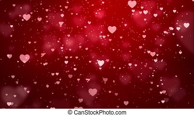 Abstract Red Romantic floating Hearts Animated loop ...