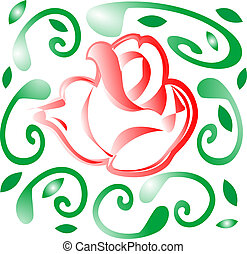 abstract red rose with green leaves