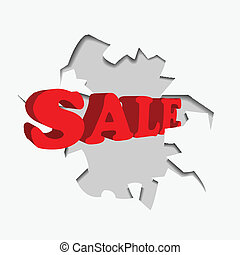 abstract red sale discount advertisement . hole with sale text