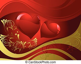 Abstract red shapes of hearts
