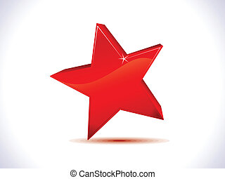 abstract red shiny 3d star icon