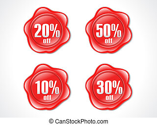 abstract red shiny plastic discount stamp vector...