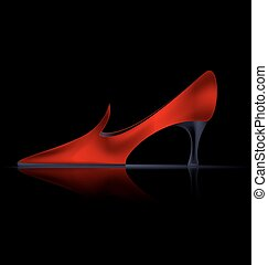 abstract red shoe - dark background and the red ladys shoe
