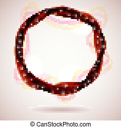 Abstract red smoke ring design element.
