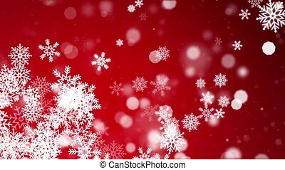 Abstract Red snow Particles Moving loop BG merry christmas, ...