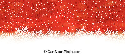 Abstract red snowflake background, panorama - Panorama red...