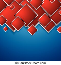 Abstract red squares on blue background