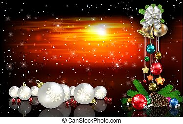 Abstract red sunset background with Christmas decorations
