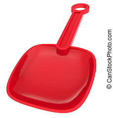 Abstract red toy shovel isolated on white background.