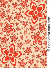 Abstract red vector with flowers