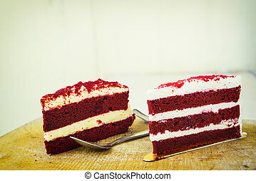 abstract red velvet cake on vintage filter