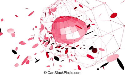 Abstract red waving 3D grid or mesh of pulsating geometric...