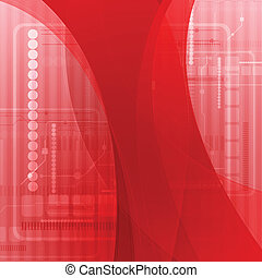 Abstract red wavy tech background