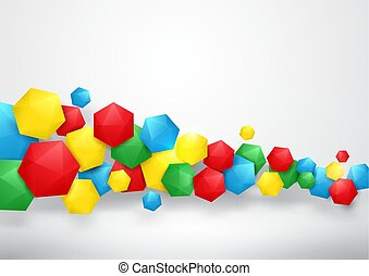 Abstract red, yellow, green, and blue 3d hexagons background