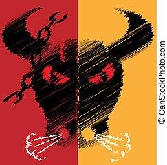 abstract red yellow image of bull
