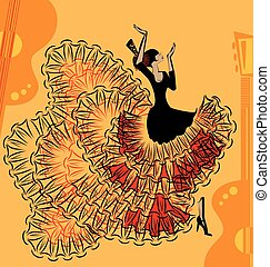 abstract red-yellow music of flamenco